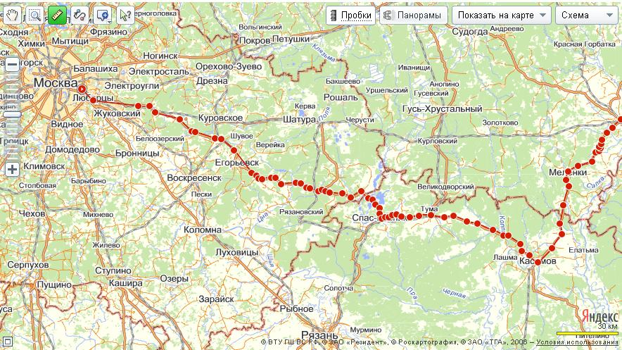 схема проезда от города